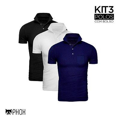 Kit 3 Polos Phox Premium com bolso - Preta, Branca, Azul Marinho