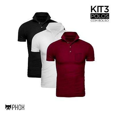 Kit 3 Polos Phox Premium com bolso - Preta, Branca, Bordô
