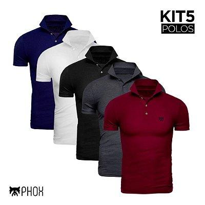 Kit 5 Polos Phox Premium com bolso - Azul, Branca, Preta, Cinza Escuro, Bordô