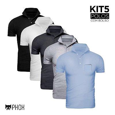 Kit 5 Polos Phox Premium com bolso - Preta, Branca, Cinza Escuro, Cinza Claro, Azul Jeans