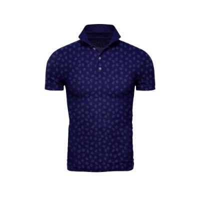 Camisa Polo Azul Marinho Miniprint Folhas - ARK-F3