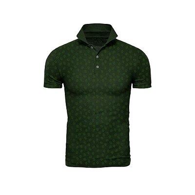 Camisa Polo Verde Militar Miniprint Folhas - ARK-F9