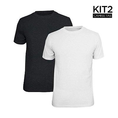Kit 2 Camisetas Básica Lisa Phox Branca, Cinza Escuro 1030