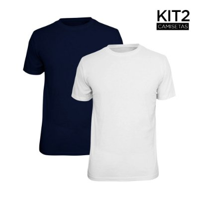 Kit 2 Camisetas Básica Lisa Phox Branca, Marinho 1030