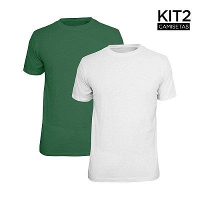 Kit 2 Camisetas Básica Lisa Phox Branca, Verde Militar 1030