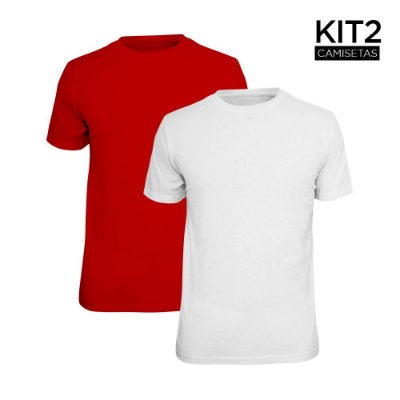 Kit 2 Camisetas Básica Lisa Phox Branca, Vermelho 1030