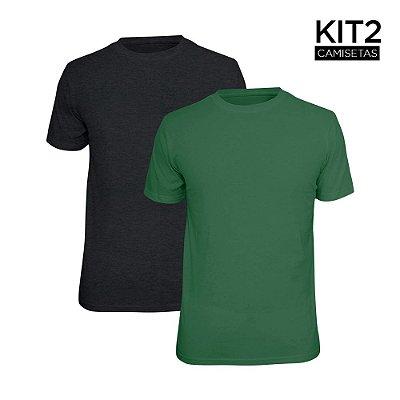 Kit 2 Camisetas Básica Lisa Phox Cinza Escuro, Verde Militar 1030