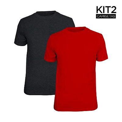 Kit 2 Camisetas Básica Lisa Phox Cinza Escuro, Vermelho 1030