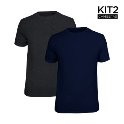 Kit 2 Camisetas Básica Lisa Phox Marinho, Cinza Escuro 1030