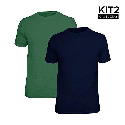 Kit 2 Camisetas Básica Lisa Phox Marinho, Verde Militar 1030