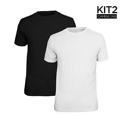 Kit 2 Camisetas Básica Lisa Phox Preta, Branca 1030