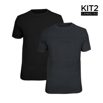 Kit 2 Camisetas Básica Lisa Phox Preta, Cinza Escuro 1030
