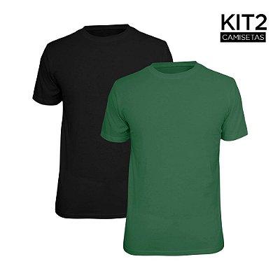 Kit 2 Camisetas Básica Lisa Phox Preta, Verde Militar 1030