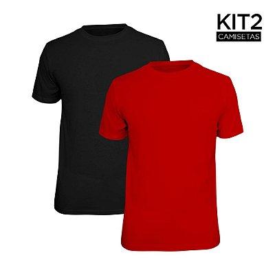 Kit 2 Camisetas Básica Lisa Phox Preta, Vermelho 1030