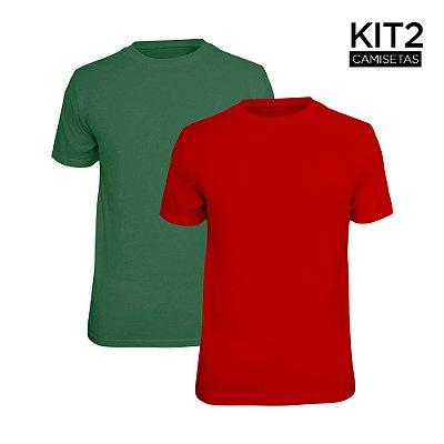 Kit 2 Camisetas Básica Lisa Phox Vermelho, Verde Militar 1030