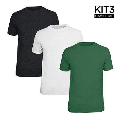 Kit 3 Camisetas Básica Lisa Phox Branca, Cinza Escuro, Verde Militar 1030