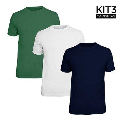Kit 3 Camisetas Básica Lisa Phox Branca, Marinho, Verde Militar 1030
