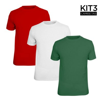 Kit 3 Camisetas Básica Lisa Phox Branca, Vermelho, Verde Militar 1030