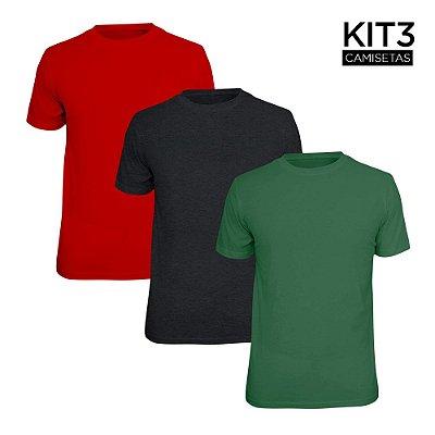 Kit 3 Camisetas Básica Lisa Phox Cinza Escuro, Vermelho, Verde Militar 1030