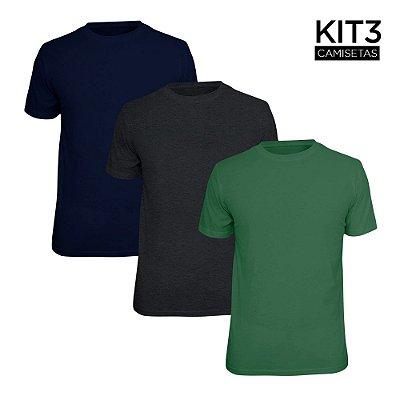 Kit 3 Camisetas Básica Lisa Phox Marinho, Cinza Escuro, Verde Militar 1030