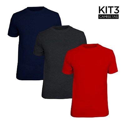 Kit 3 Camisetas Básica Lisa Phox Marinho, Cinza Escuro, Vermelho 1030