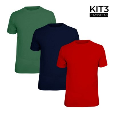 Kit 3 Camisetas Básica Lisa Phox Marinho, Vermelho, Verde Militar 1030