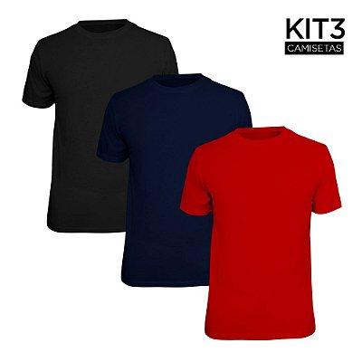 Kit 3 Camisetas Básica Lisa Phox Preta, Marinho, Vermelho 1030