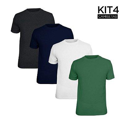 Kit 4 Camisetas Básica Lisa Phox Branca, Marinho, Cinza Escuro, Verde Militar 1030