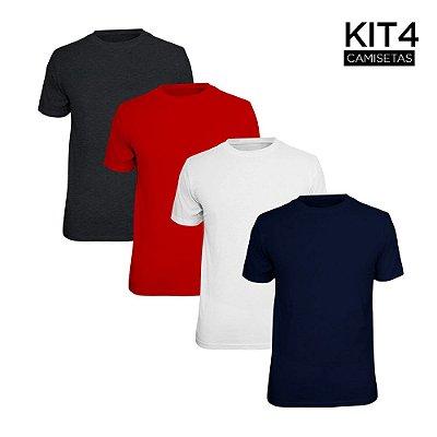 Kit 4 Camisetas Básica Lisa Phox Branca, Marinho, Cinza Escuro, Vermelho 1030