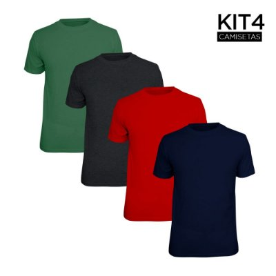Kit 4 Camisetas Básica Lisa Phox Marinho, Cinza Escuro, Vermelho, Verde Militar 1030