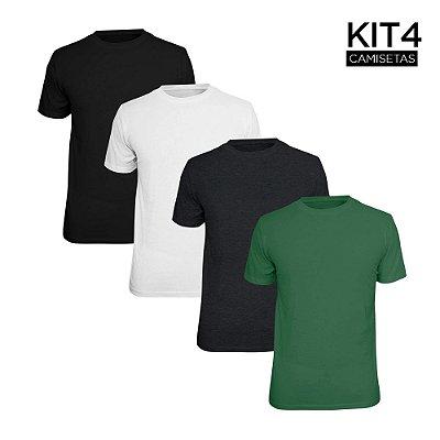 Kit 4 Camisetas Básica Lisa Phox Preta, Branca, Cinza Escuro, Verde Militar 1030