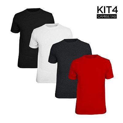 Kit 4 Camisetas Básica Lisa Phox Preta, Branca, Cinza Escuro, Vermelho 1030