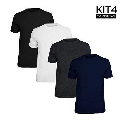 Kit 4 Camisetas Básica Lisa Phox Preta, Branca, Marinho, Cinza Escuro 1030