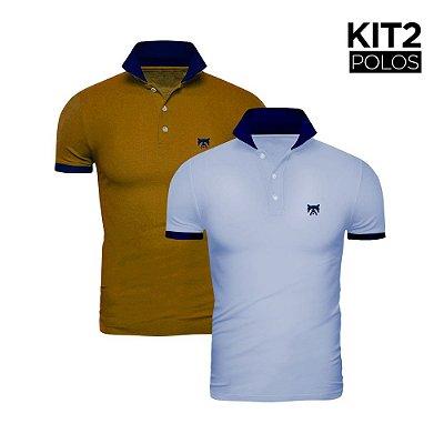 Kit 2 Polos Phox Gold - Azul Jeans/Marinho, Mostarda/Marinho 1020