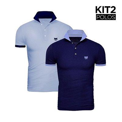 Kit 2 Polos Phox Gold - Marinho/Azul Jeans, Azul Jeans/Marinho 1020