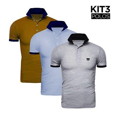 Kit 3 Polos Phox Gold - Cinza Claro/Preta, Azul Jeans/Marinho, Mostarda/Marinho 1020