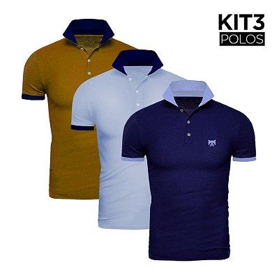Kit 3 Polos Phox Gold - Marinho/Azul Jeans, Azul Jeans/Marinho, Mostarda/Marinho 1020