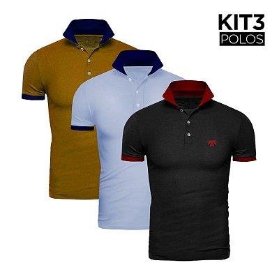 Kit 3 Polos Phox Gold - Preta/Vermelha, Azul Jeans/Marinho, Mostarda/Marinho 1020