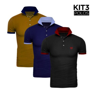 Kit 3 Polos Phox Gold - Preta/Vermelha, Marinho/Azul Jeans, Mostarda/Marinho 1020