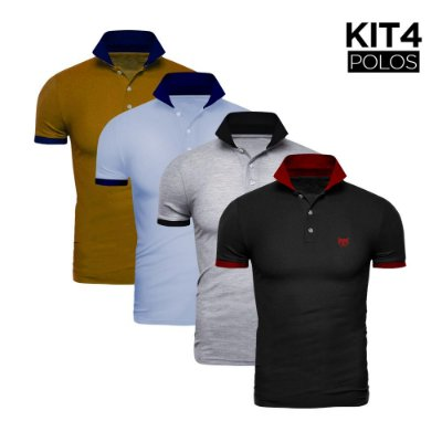 Kit 4 Polos Phox Gold - Preta/Vermelha, Cinza Claro/Preta, Azul Jeans/Marinho, Mostarda/Marinho 1020