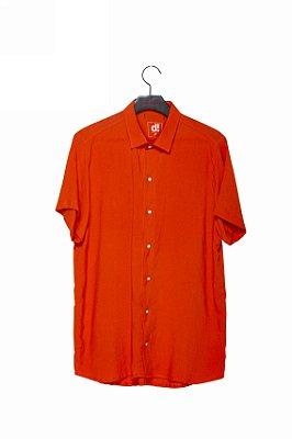 camisa linho laranja