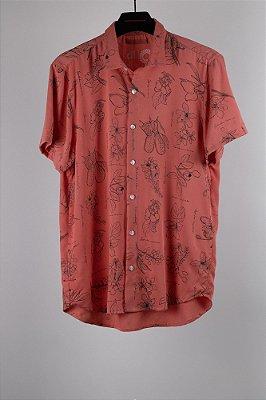 camisa botânica rosa