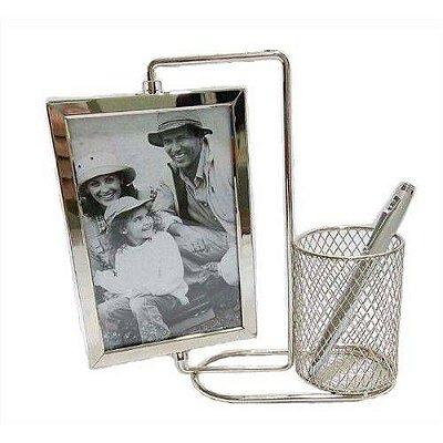 Porta Retrato de inox 10x15cm com porta caneta telado