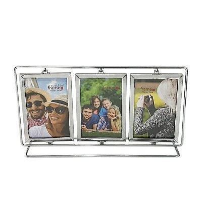 Porta Retrato inox giratorio para 6 fotos 10x15cm