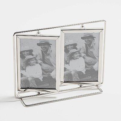 Porta Retrato inox giratório para 4 fotos 10x15cm