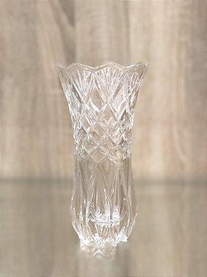 Vaso de Vidro Lapidado Losango