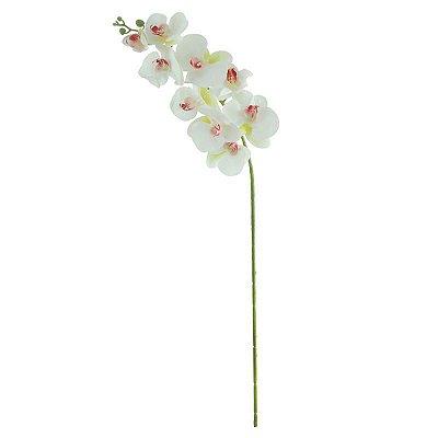 Flor de orquidea phalaenopisis toque real de silicone branca 3d 96cm