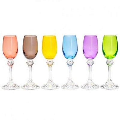 Jogo de taças de cristal para licor bohemia Elisa colorida 65 ml 6 unidades