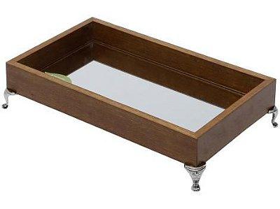 Bandeja de madeira com pe inox espelhada 29x17cm