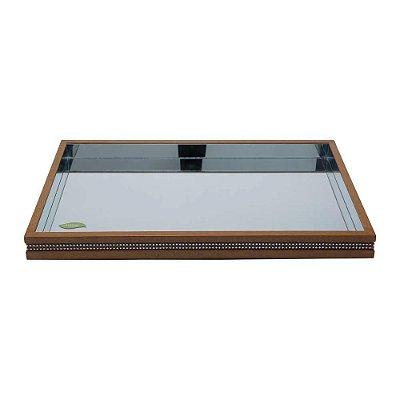 Bandeja de madeira com espelho strass 46x26x4,5cm